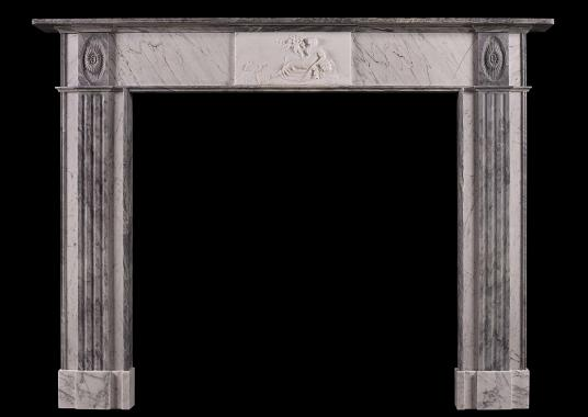A period Regency fireplace in Statuary, Bardiglio and Carrara marble