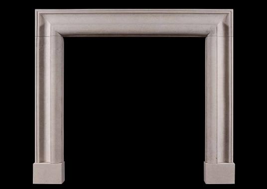 An English bolection fireplace in Portland limestone