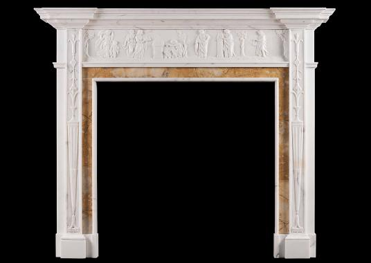 A Neo-Classical English Statuary marble fireplace with Siena inlay