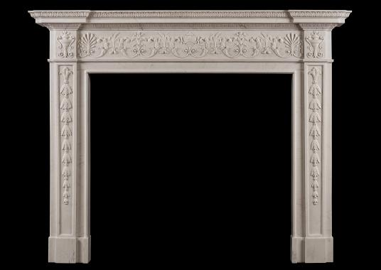 An English George III White Marble Fireplace