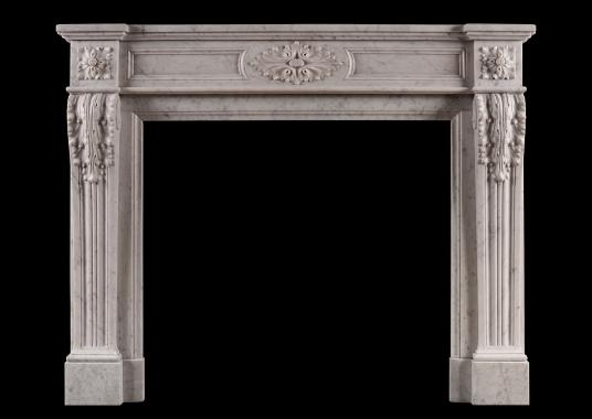 A French Louis XVI style Carrara marble antique fireplace