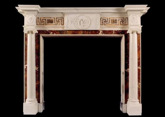 An Antique English Statuary fireplace with inlaid Siena and Jasper Marble