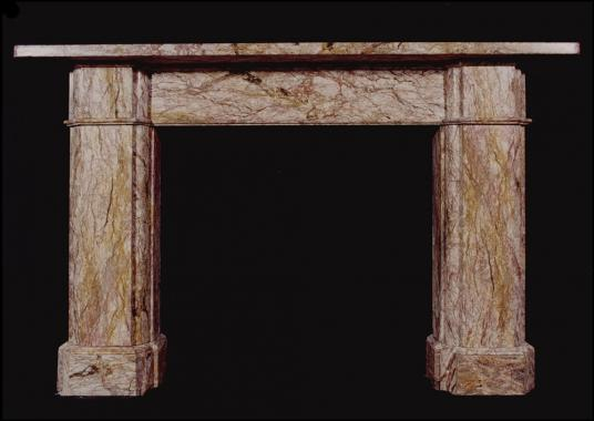 A mid 19th century Victorian architectural reclaimed marble fireplace
