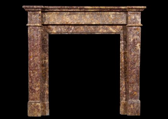 A French Louis XVI style Spanish Brocatelle marble chimneypiece