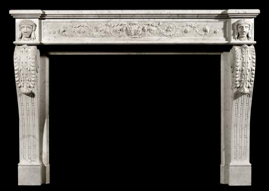 An unusual 19th Century French XVI style Carrara marble fireplace