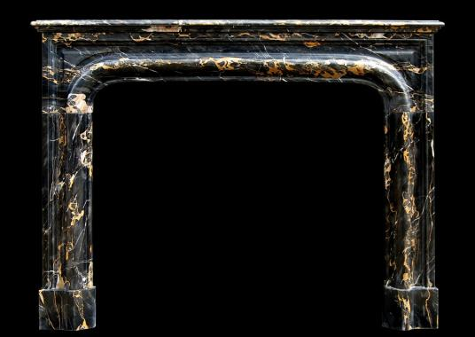 A 19th century French Louis XIV style Portoro marble fireplace