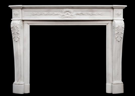 A fine quality French Louis XVI style Statuary marble chimneypiece