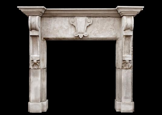 A large English limestone fireplace with shaped brackets (pair available)