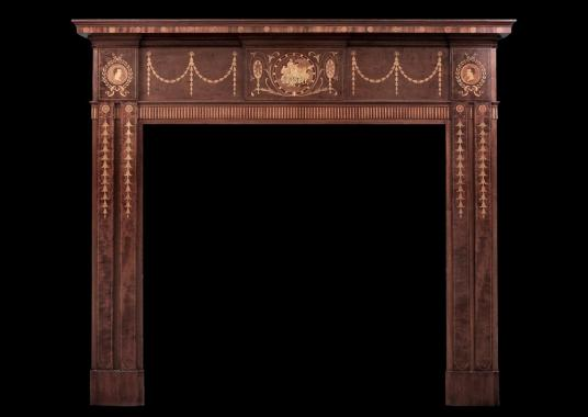 A 19th century English mahogany fireplace with lacquer finish