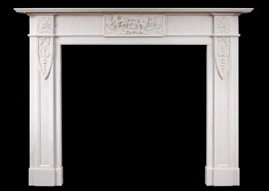 An English marble fireplace in the Georgian style