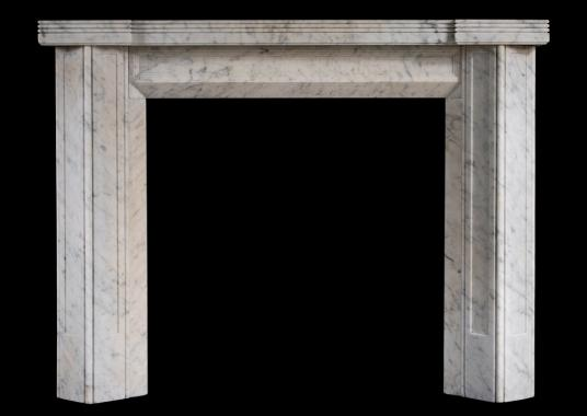 An unusual English Carrara marble fireplace in the Art Deco style