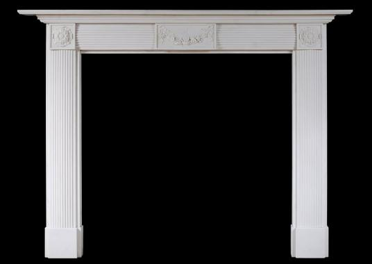 An English white marble fireplace in the Regency style