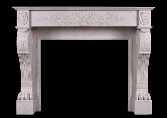 A 19th century Regency fireplace in Carrara marble