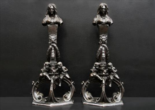 A very fine pair of Italian renaissance revival bronze figures