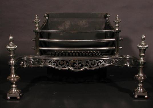 A large 19th century English polished steel firegrate
