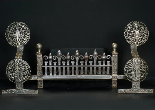 A very impressive early 19th century English nickel and cast iron antique firegrate