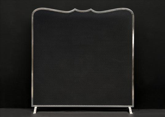 An elegantly shaped steel firescreen
