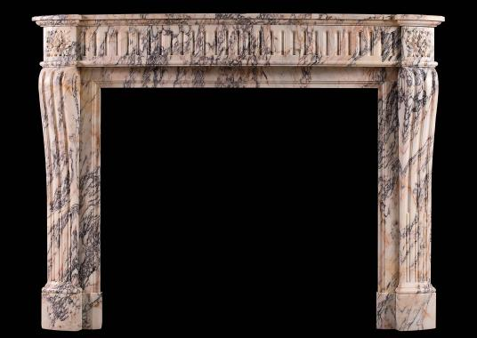 A French Louis XVI style Breche Violette antique marble fireplace