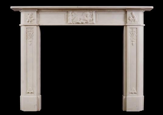 An English Regency fireplace in Statuary marble