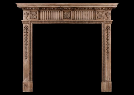Carved pine English fireplace