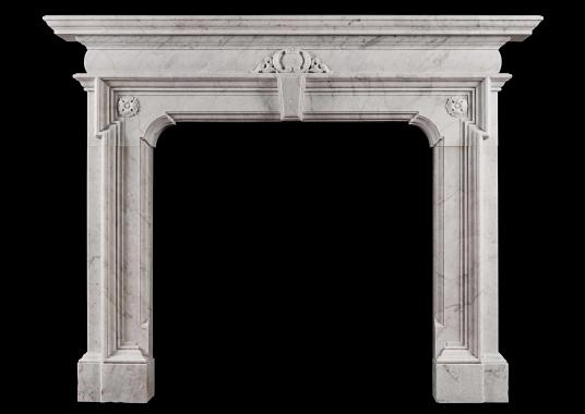 A Mannerist fireplace in Italian Carrara marble