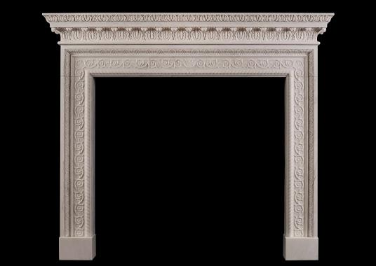 A white marble fireplace in the mid Georgian style