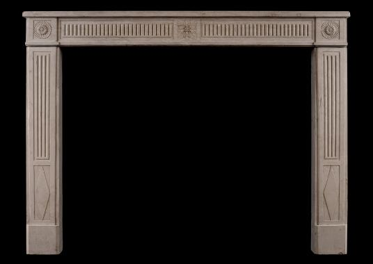 A quality French Louis XVI Directoire stone fireplace