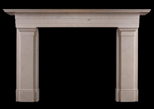 An antique Statuary marble Regency fireplace. One of an exact pair.