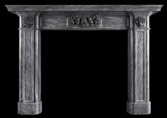 A 19th century fireplace in Italian Bardiglio marble
