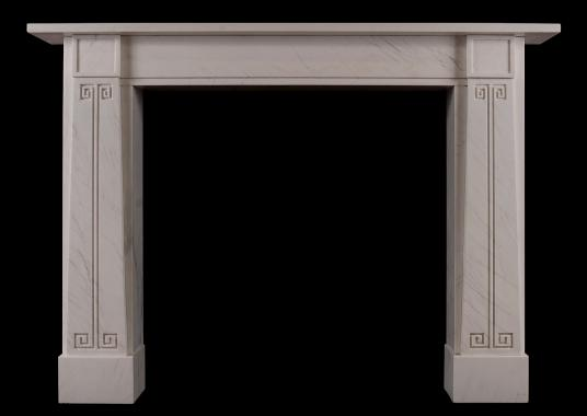 A white marble Soanian fireplace