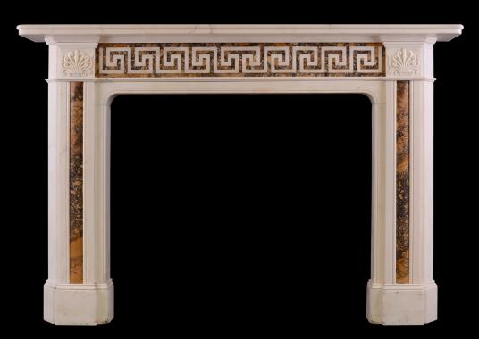 An early 19th century Statuary and Siena marble fireplace