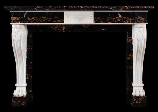 An Italian Portoro and Statuary marble fireplace