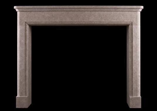 Architectural fireplace in pearl beige limestone