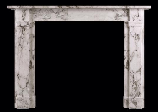 An Arabescato marble fireplace in the Regency manner