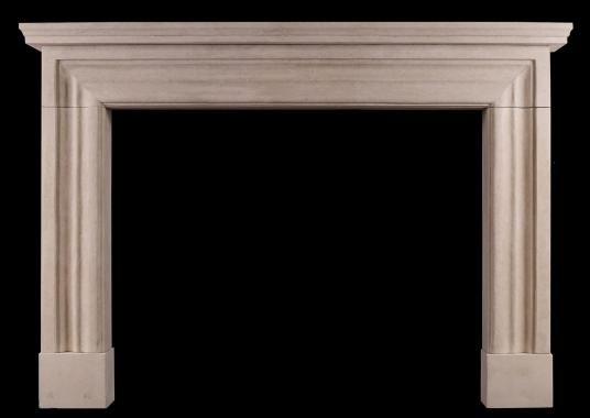 An imposing Bath stone fireplace