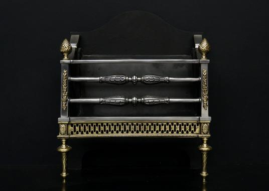 A good quality English brass and steel firegrate