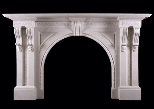 A period Victorian fireplace in Italian Statuary marble