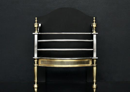 A brass and steel firegrate