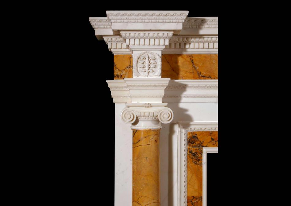 An important English 18th century Statuary and Sienna marble fireplace