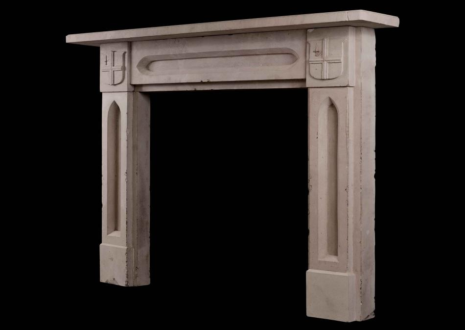 An English stone fireplace - Gothic style