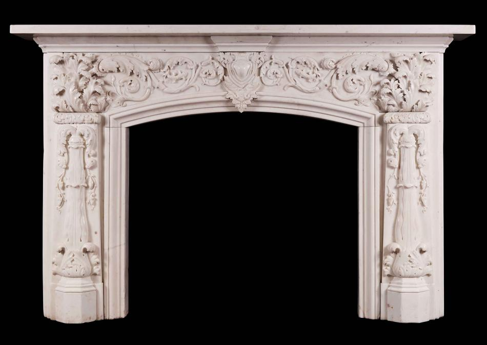 A fine quality late Regency Statuary marble fireplace. Circa 1830