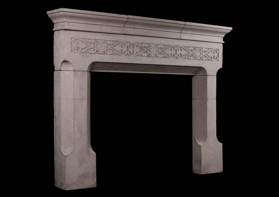 An English Reconstituted Stone Fireplace in the Gothic Style