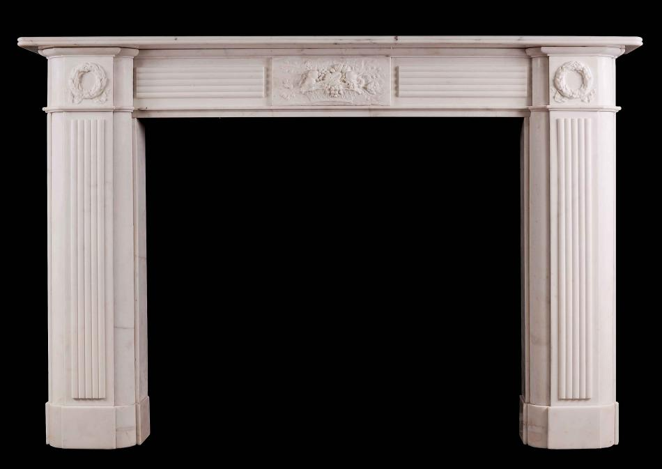 A Large English Period Regency Fireplace in Statuary Marble