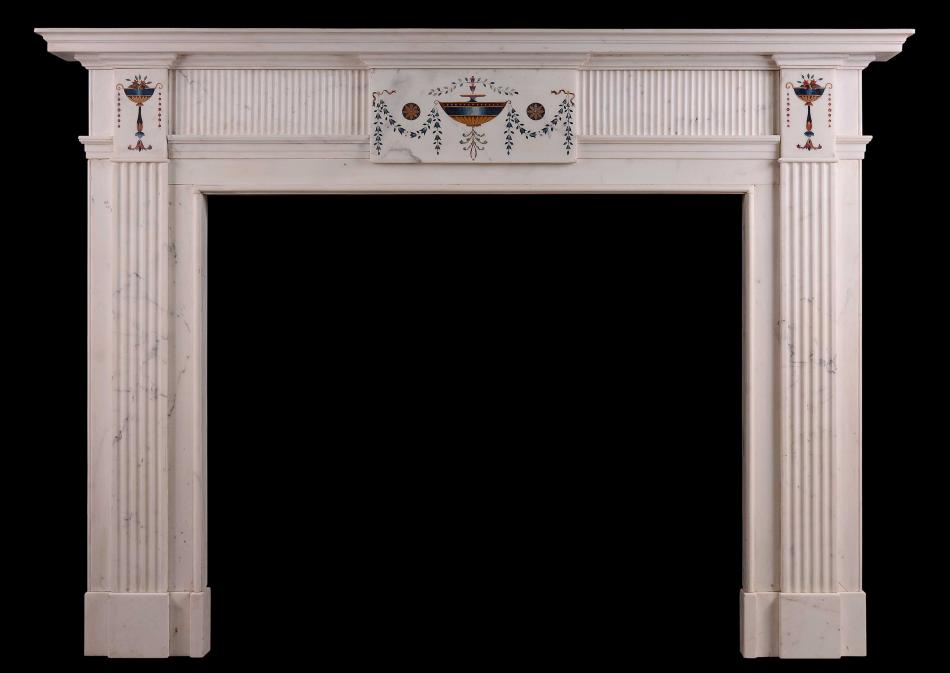 An Irish Statuary Antique marble fireplace in the manner of Pietro Bossi