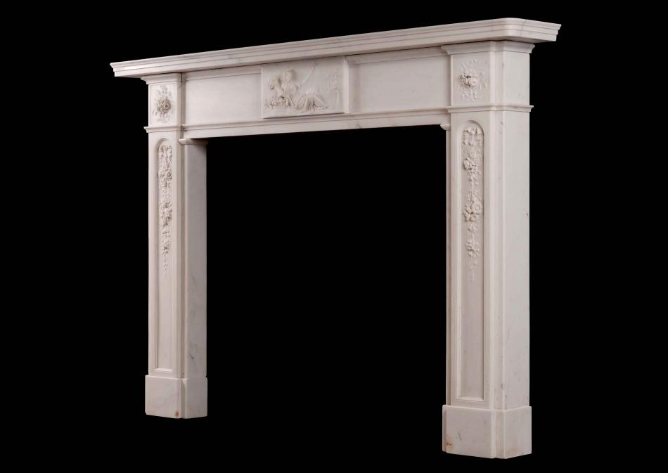 A period late Georgian chimneypiece in Italian Statuary marble