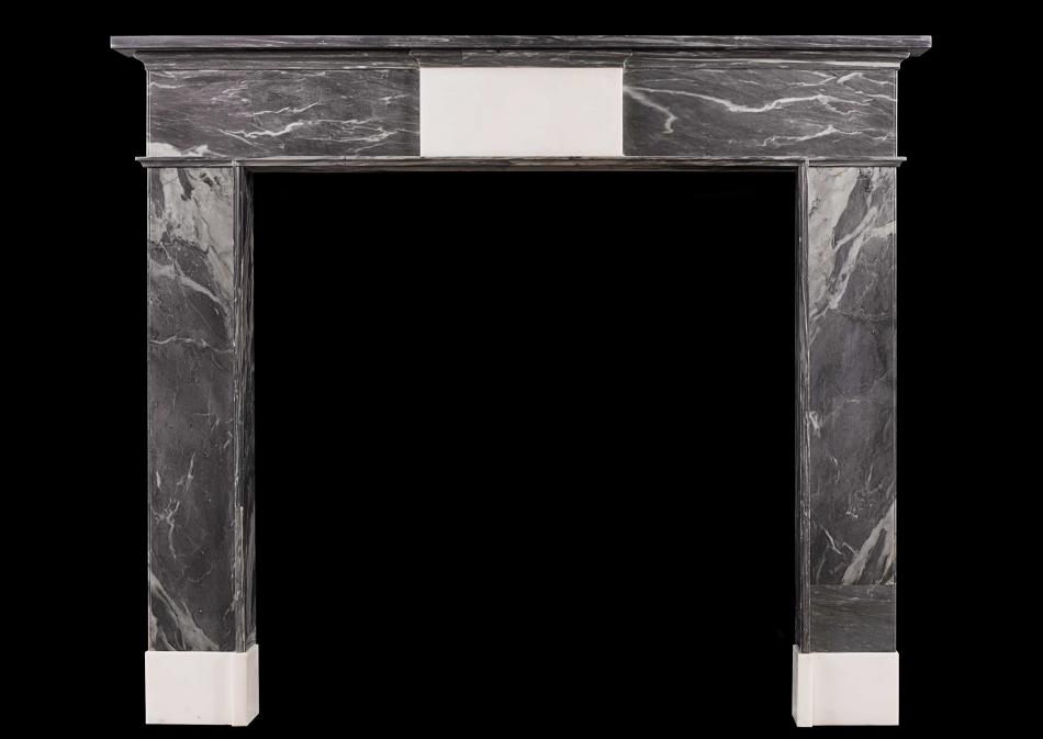 An 18th century Irish grey Bardiglio marble fireplace
