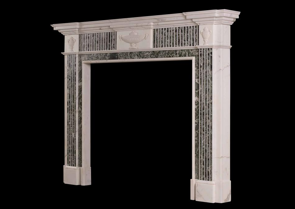 A Georgian style Statuary marble fireplace with inlaid green Tinos marble