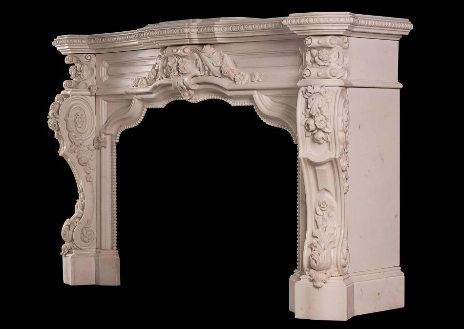 A very impressive carved Statuary antique marble fireplace
