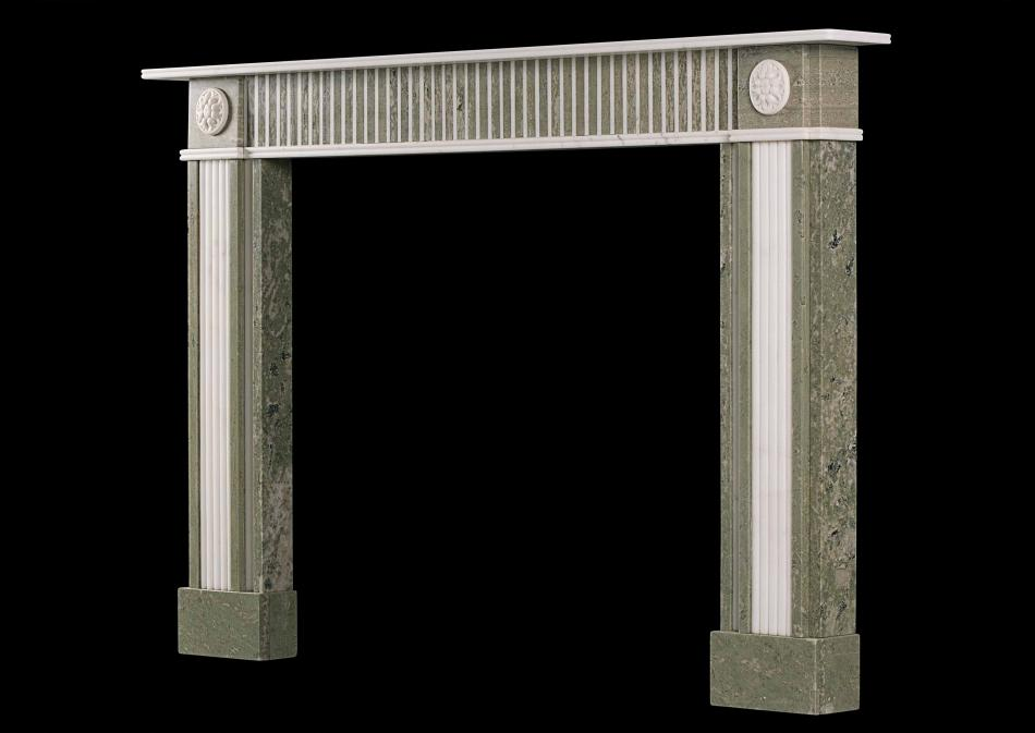 A Regency style fireplace in Swedish green marble with Statuary inlay
