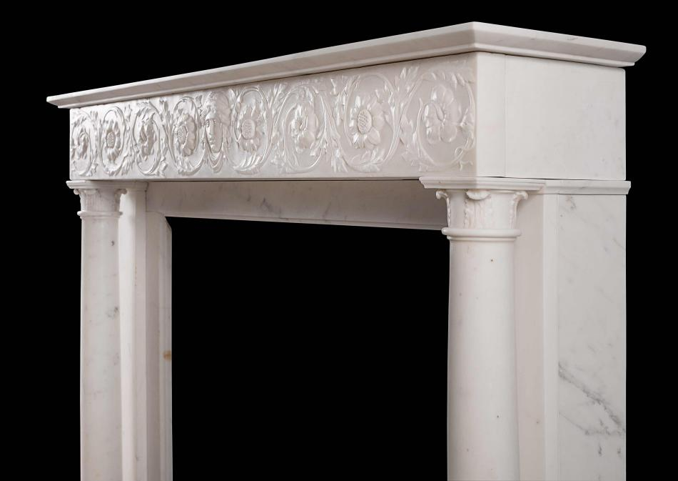A 19th century Statuary marble antique fireplace